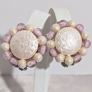 Vintage Mid Century Pink & Silver Clip Earrings